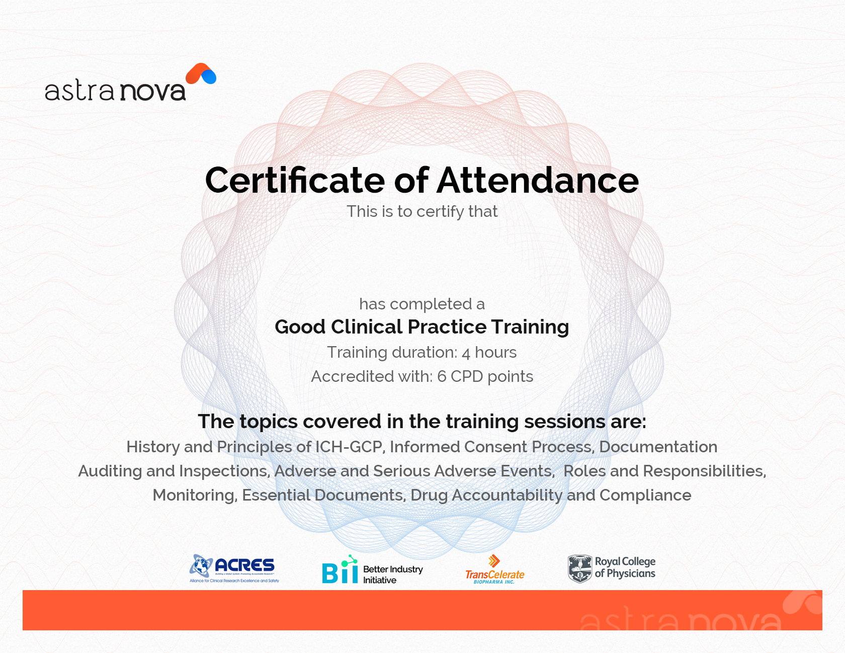 cpd certificate template - pharmaceutical and clinical research trainings